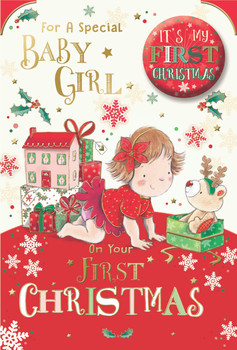 For a Special Baby Girl First Christmas Card