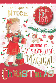 For a Special Niece Sparkly Magical Christmas Card