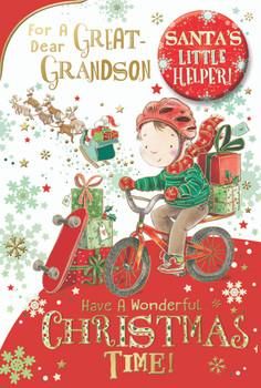 For a Dear Great Grandson Santa's Little Helper Christmas Card