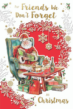 To Friends We Don't Forget Santa Reading Book Design Christmas Card