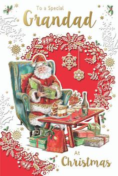 To a Special Grandad Santa Reading Book Design Christmas Card
