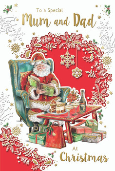 To a Special Mum and Dad Santa Reading Book Design Christmas Card