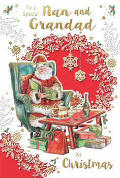 To a Special Nan and Grandad Santa Reading Book Design Christmas Card