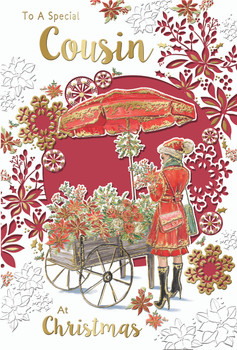 To a Special Cousin Flower Cart Design Christmas Card