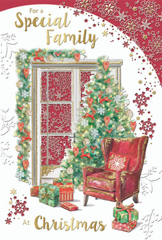 For a Special Family Floral Gold Foil Finished Christmas Card