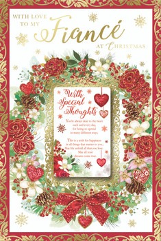 With Love to My Fiance Special Thoughts Beautiful Wreath Design Christmas Card