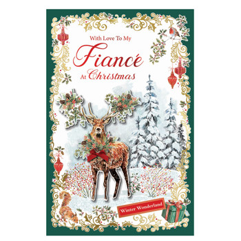 With Love to My Fiance Winter Wonderland Design Christmas Card