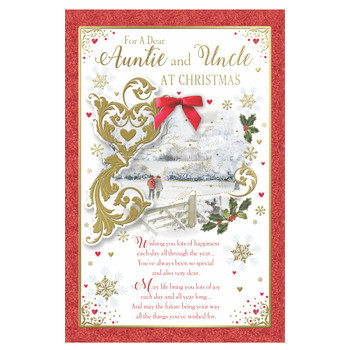 For Auntie and Uncle Couple Walking in Winter Wonderland Design Christmas Card