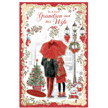 To a Dear Grandson and His Wife Winter Wishes Christmas Card