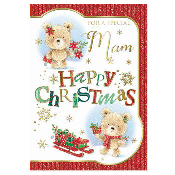 For a Special Mam Bear With Flowers and Gift Design Christmas Card