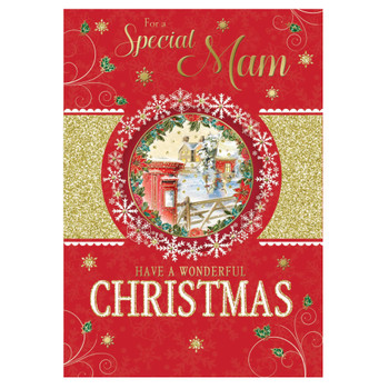 For a Special Mam Glitter and Foil Finished Red Christmas Card