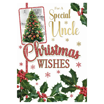 For a Special Uncle Bauble Decorative Xmas Tree Desing Christmas Card