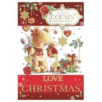 To a Dear Cousin Teddy Pouring Frosting On Cake Design Christmas Card