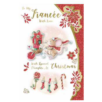 To My Fiancee Mouse With Gift Backet Design Christmas Card