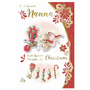 To a Special Nanna Mouse With Gift Backet Design Christmas Card