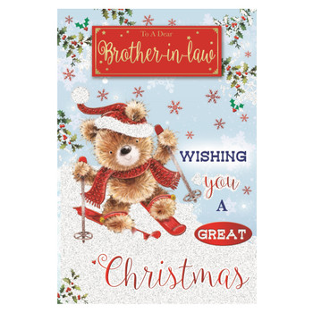 To a Dear Brother In Law Teddy Doing Ice Skating Design Christmas Card