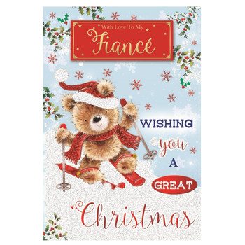 With Love To My Fiance Teddy Doing Ice Skating Design Christmas Card