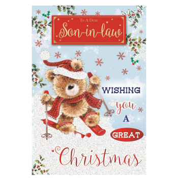 To a Dear Son In Law Teddy Doing Ice Skating Design Christmas Card