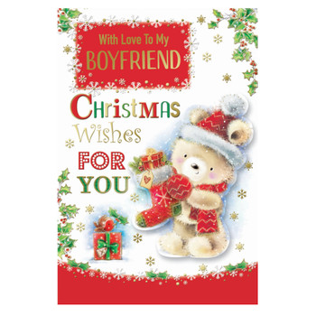 With Love To My Boyfriend Teddy With Stocking Design Christmas Card