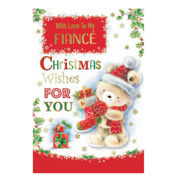 With Love To My Fiance Teddy With Stocking Design Christmas Card