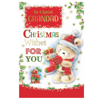 For a Special Grandad Teddy With Stocking Design Christmas Card