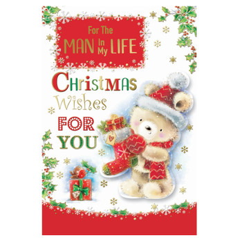 For The Man In My Life Teddy With Stocking Design Christmas Card