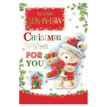 For a Dear Son In Law Teddy With Stocking Design Christmas Card