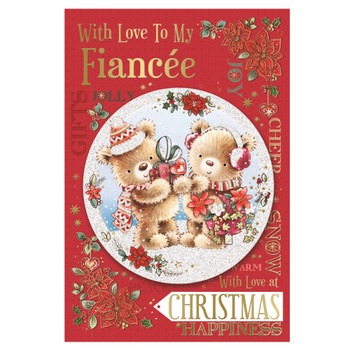 With Love to My Fiancee Bears With Gift Design Floral Christmas Card