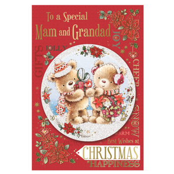 To a Special Mam and Grandad Bears With Gift Design Floral Christmas Card