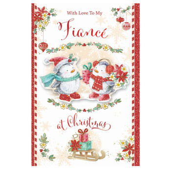 With Love to My Fiance Bears In Hat and Scarf Design Christmas Card