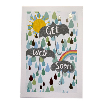 Speedy Recovery Umbrella And Rainbow Design Get Well Soon Card