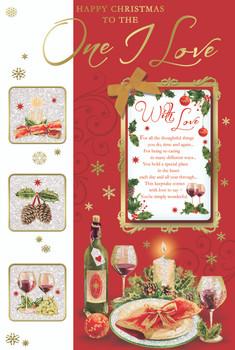 One I Love Champagne Bottle Design Christmas Card