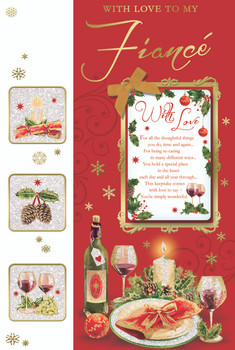 With Love to My Fiance Champagne Bottle Design Christmas Card
