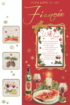 With Love to My Fiancee Champagne Bottle Design Christmas Card