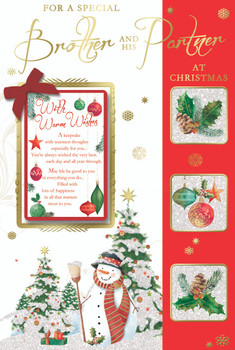 For a Special Brother And His Partner Snowman Design Christmas Card