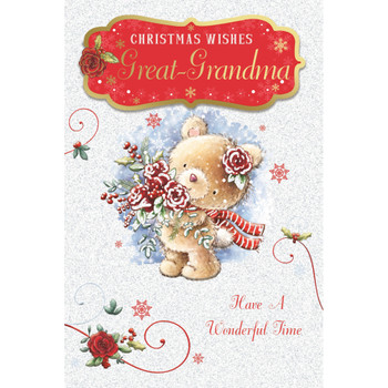 For Great Grandma Teddy With Bunch of Flowers Design Christmas Card