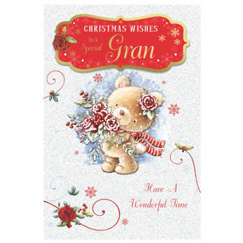 To a Special Gran Teddy With Bunch of Flowers Design Christmas Card