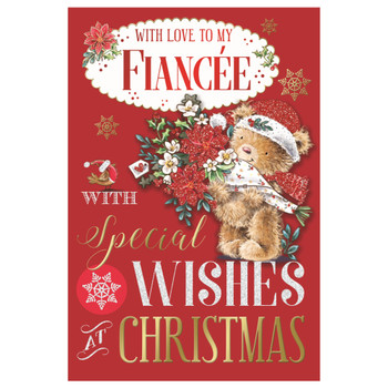 With Love To My Fiancee Bear Carring Flower Bouquet Design Christmas Card