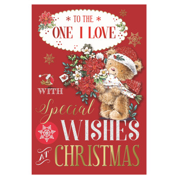 To The One I Love Bear Carring Flower Bouquet Design Christmas Card