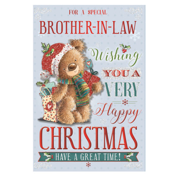 For a Special Brother In Law Teddy With Shipping Gift Bag Design Christmas Card