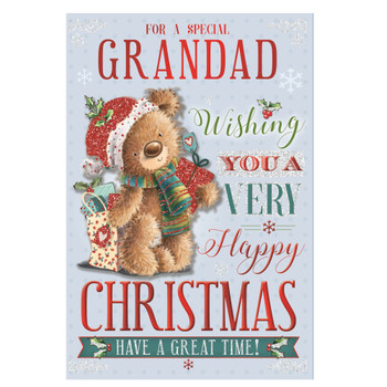 For a Special Grandad Teddy With Shipping Gift Bag Design Christmas Card