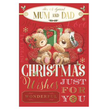 For a Special Mum and Dad Teddies Holding Present Design Christmas Card
