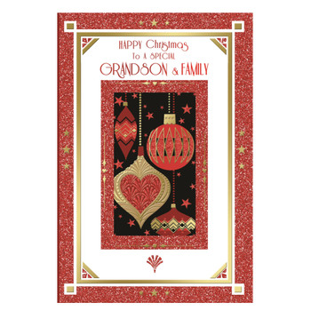 To a Special Grandson and Family Baubles Design Christmas Card