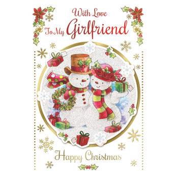 With Love to My Girlfriend Cute Couple Snowman Design Christmas Card
