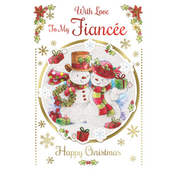 With Love to My Fiancee Cute Couple Snowman Design Christmas Card