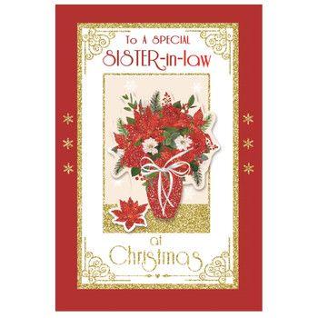 To a Special Sister In Law Flower Pot Design Christmas Card