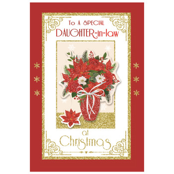 To a Special Daughter In Law Flower Pot Design Christmas Card