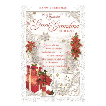 To a Special Great Grandma Poinsettias and Gifts Design Christmas Card