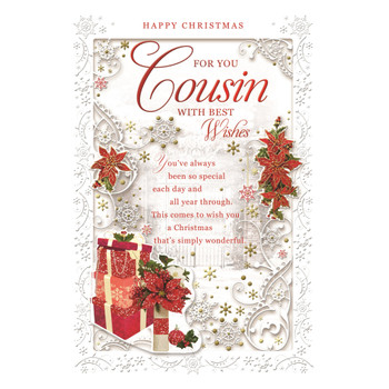 For You Cousin Poinsettias and Gifts Design Christmas Card
