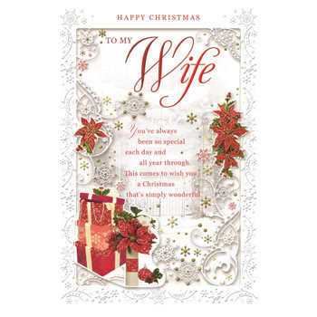 To My Wife Poinsettias and Gifts Design Christmas Card